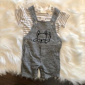 NWT First Impressions 2 piece set overalls 3-6 mo